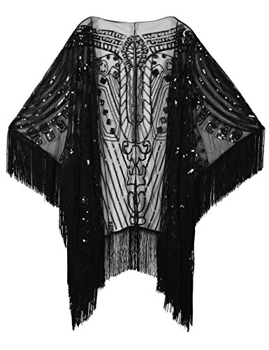 - PrettyGuide Women's 1920s Shawl Beaded Evening Wrap Open Front Fringed Cape Black
