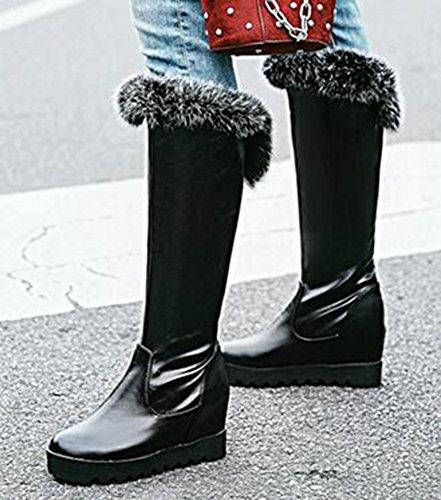 Idifu Womens Comfy High-wedge Lift Hakken Platform Pull-on Rijden Knie Hoge Laarzen Zwart