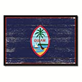 """Guam US Territory Flag Vintage Canvas Print Black Picture Frame Home Decor Wall Art Collectible Decoration Artwork Gifts 13"""" x 19"""""""