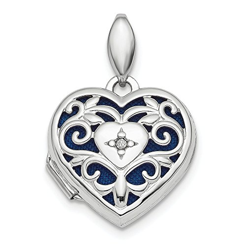925 Sterling Silver Filigree Diamond Heart Photo Pendant Charm Locket Chain Necklace That Holds Pictures Fine Jewelry Gifts For Women For Her