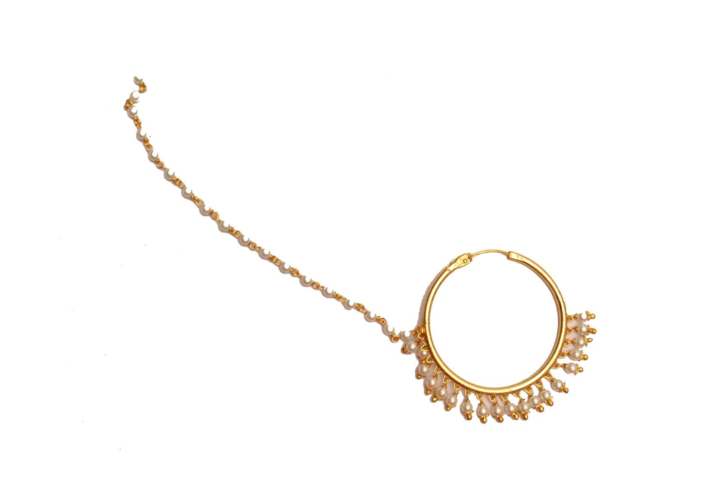 Bridal Gold Plain Pearl Nose Ring Chain Hoop Indian Bridal Nose