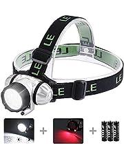 LE Stirnlampen, 4 Helligkeiten zu wahlen, LED Kopflampe, leicht und superhell, ideal für Wandern, Camping, Ausflug, AAA Batterien Inklusive
