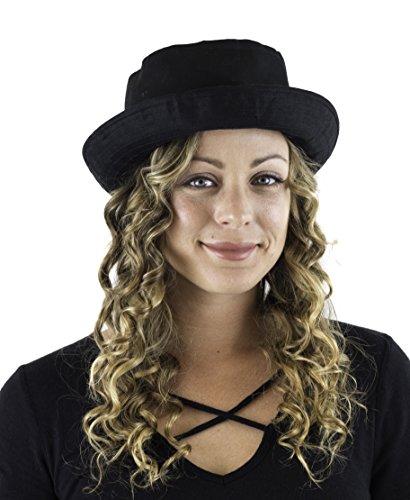 - Captain Fashion Boater Bucket Trilby Fedora Porkpie Stylish Hat Beautiful Look Black (Black, Small)