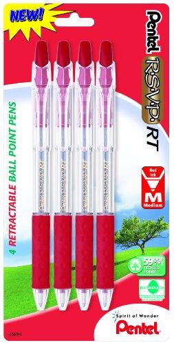 (Pentel R.S.V.P. RT New Retractable Ballpoint Pen, Medium Line, Red Ink, 4 Pack  (BK93BP4B))