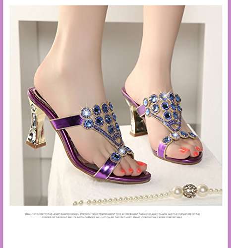 diamante purple grossolana KPHY diamante 33 38 sexy toe sandali alti estate tacchi gold nuovo wWqn01XqO