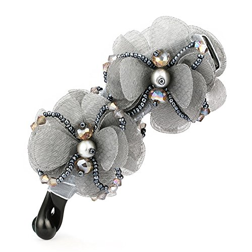 Special Beauty Nice Hair Barrettes Clip Artificial Pearl Crystal Beads Hairpins Flower Hair Ornaments for Women Hair Accessories Gray