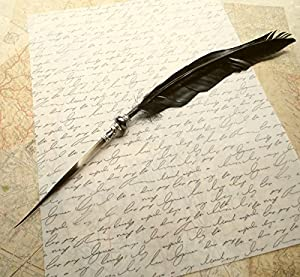 amazon com steampunk quill pen raven s wing ink dip porcupine quill