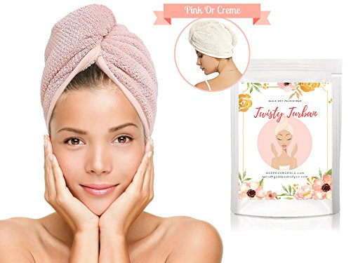 Super Absorbent NO MORE FRIZZ, Quick Drying Microfiber Hair Towel. Delicate Anti-Frizz Turban Towel for Curly Hair. Extra Long Towel Works for Long & Short Hair. Cut Blowdrying Time in Half(Pink) - How To Wrap Long Hair