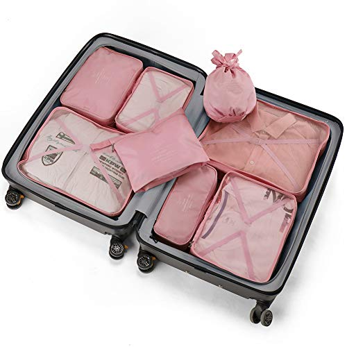 Travel Packing Cubes 8 Pcs Set, Luggage Packing Organizers with Shoe Bag and Toiletry Bag (Light pink)