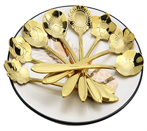 gold soup spoons Creative Flower Coffee Spoon, Stirring Spoon, Sugar Spoon, Stir Bar Spoon, Mixing Spoon, Tea Spoon, Ice Tea Spoon, Ice Cream Spoons,8 pcs ()