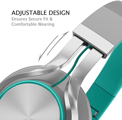 AILIHEN C8 Headphones with Microphone and Volume Control Folding Lightweight Headset for Cellphones Tablets Smartphones Laptop Computer PC Mp3/4 (Grey/Mint) 518wjZo3C0L