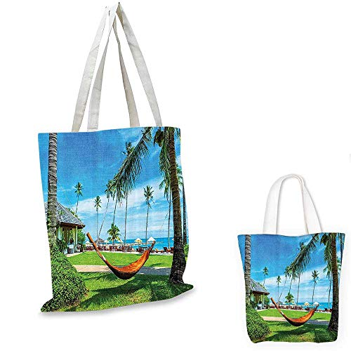 (Beach Hammock Decor Collection royal shopping bag Hammock between Palm Trees Honeymoon Holiday Resort Picture funny reusable shopping bag Green Blue Mustard. 12