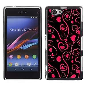iBinBang / Funda Carcasa Cover Skin Case - Arte Negro floral rosado minimalista Diseño - Sony Xperia Z1 Compact D5503