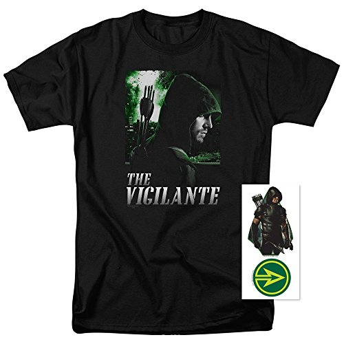 Costumed Vigilante (Arrow TV Show The Vigilante DC Domics T Shirt & Exclusive Stickers (X-Large))