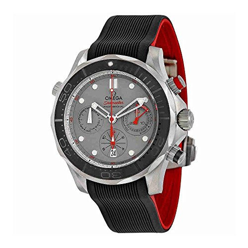 Omega Seamaster Diver - Omega Seamaster Diver 300 Chronograph Automatic Grey Dial Black Rubber Mens Watch 21292445099001