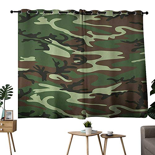 (NUOMANAN Bedroom Curtain Camo,Classical American Commando Uniform Inspired Pattern Forest Tile,Forest Green Light Green Brown,Complete Darkness, Noise Reducing Curtain 42