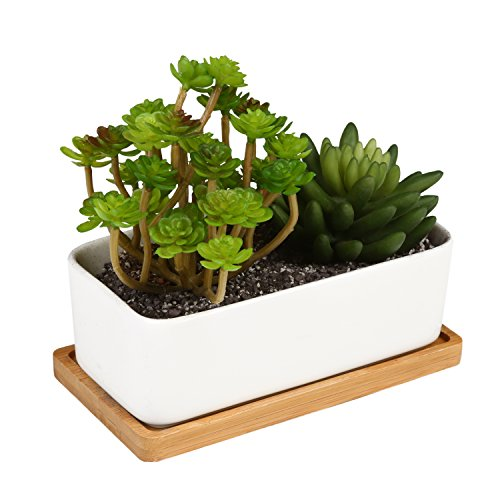 mygift-ceramic-plant-container-with-bamboo-saucer-succulent-planter-pot-white