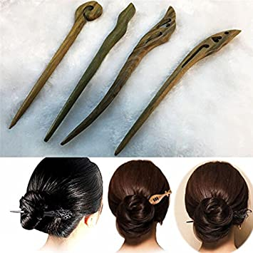 e9a397185c Amazon.com   Traditionals Carved Ebony Wooden Hair Pin Stick Originals  Retro Womens Lady Sexy   Beauty