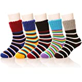 Eocom Children's Winter Warm Wool Striper Socks For Kids Boys Girls 5 Pack Random Color (3-6 Years, Striper)