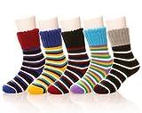 Eocom Children's Winter Warm Wool Striper Socks For Kids Boys Girls 5 Pack Random Color (3-6 Years, Striper)