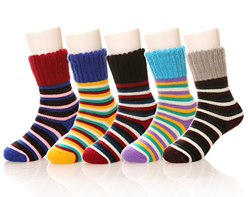 Eocom Children's Winter Warm Wool Striper Socks For Kids Boys Girls 5 Pack Random Color (6-10 Years, (Boys Wool)
