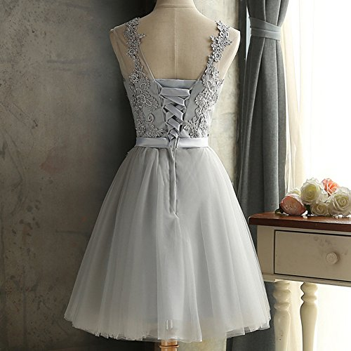 Scothen Damen Brautjungfern Kleid Festliches Kleid Hochzeitsfeier Ballkleid Sheer Rock Perlstickerei Applikationen Tull Abiball Kleider A Linie