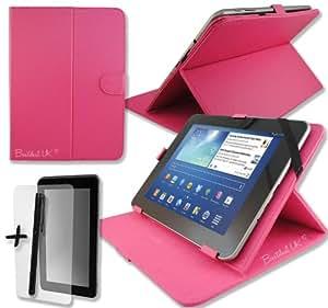 """Rosa 'funda de piel sintética de función atril para COLORFLY E708Q27""""Tablet PC + Protector de pantalla + lápiz capacitivo"""