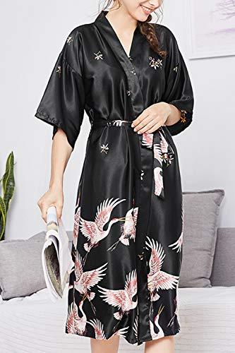 Le Kimono Donne Corte Black Occasionale Estate Maniche Fasumava Taglia Pigiama Ryon In pf1fdq