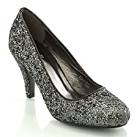 ESSEX GLAM Women's Bridal wedding Low Heel Sparkly Prom Party Court Shoes