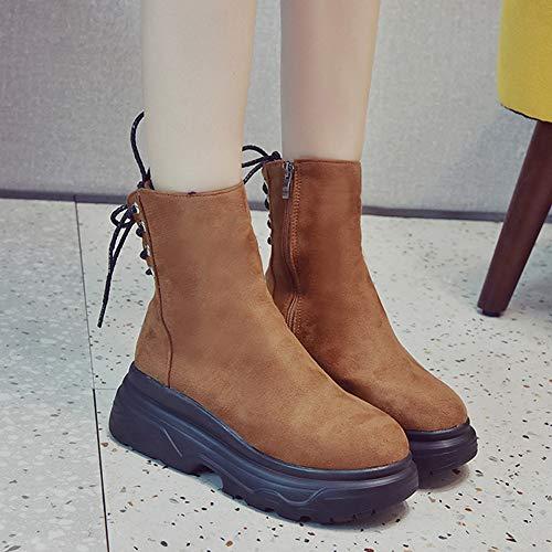 Femme Sans Bout Noël Chaussures Plate Dames Talon Bottes Boots forme Rond Aide Bas À Kaki Lacet De Chaussures Binggong Épais 7q4wxdTnv7