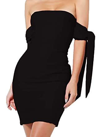 99b65115676 Haola Womens Off Shoulder Dress Sexy Bodycon Club Party Mini Dresses ...