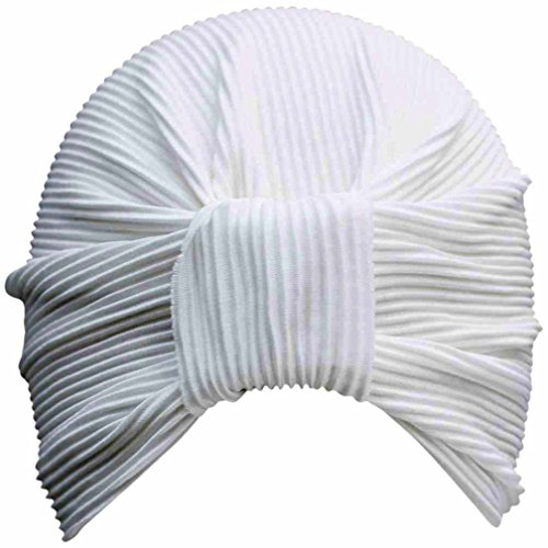 Luxury Divas White Thin Pleated Polyester Turban Hat Head Cover Sun Cap