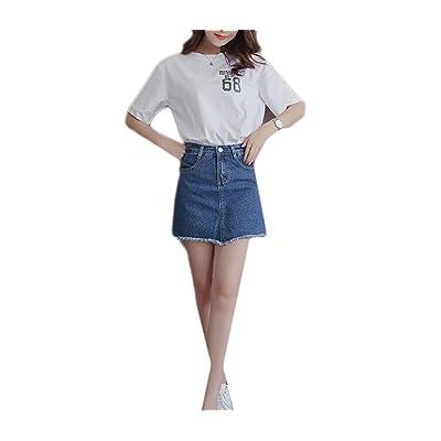 Abetteric Women's Bodycon Underskirts High Waisted Fringed Sanding Culottes Denim Shorts Blue M