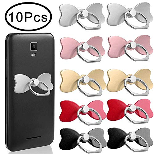 Outee 10 Pcs Cell Phone Ring Holder Phone Finger Holder Phone Ring and Stand 360° Rotation 180° Flip Grip Mount Universal Smartphone Tablet (Butterflies)