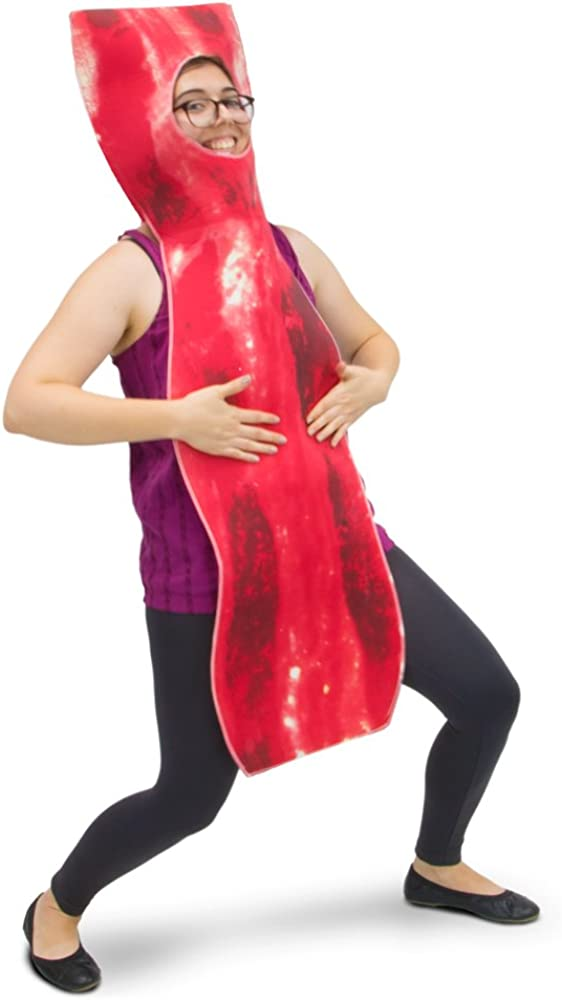 Crispy Bacon Strip Halloween Costume, Unisex Men & Women Breakfast Food Suit, Red, One Size