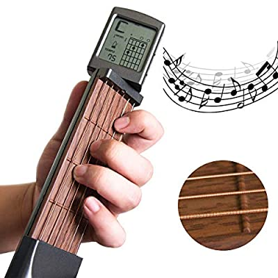 BEILY Pocket Guitar Chord Trainer Portable Beginner Finger Memory Practice Tool with Rotatable Chord Chart Display