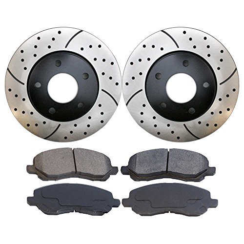 Prime Choice Auto Parts SCDPR64016401866 Pair of Drilled and Slotted Rotors and Premium Ceramic Brake Pads -