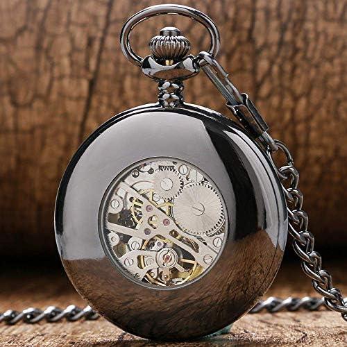 YXZQ懐中時計、クラシックスチームパンクブラックスムースケース中空メカニカルハンドウィンドロイヤルブルースケルトンメンズレディースペンダントフォブチェーン
