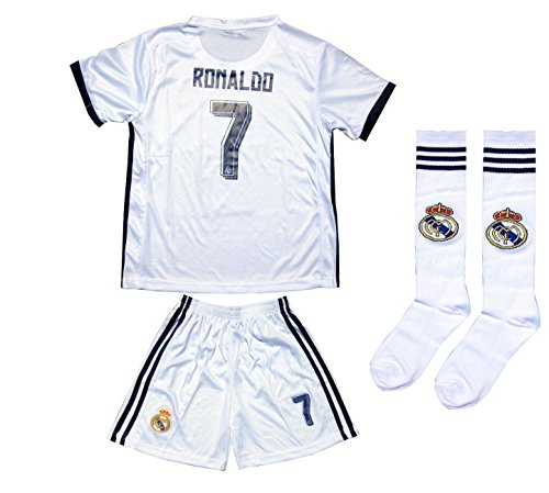 2015/2016 REAL MADRID #7 RONALDO KIDS HOME SOCCER JERSEY & SHORTS YOUTH SIZES (4-5 YEARS)