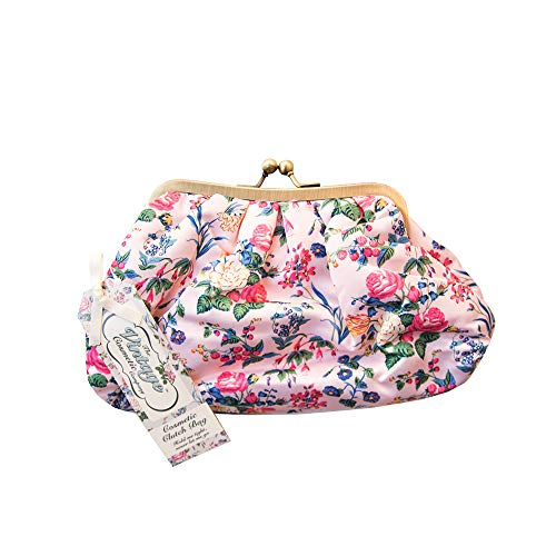 The Vintage Cosmetic Company Clutch Makeup Bag - Retro Pink Floral Satin Print