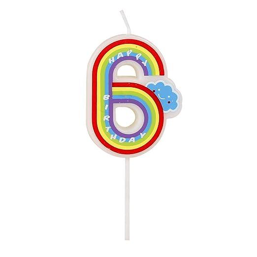 Número velas, 6 números, multicolor, velas de feliz cumpleaños para adultos y niños Happy Time