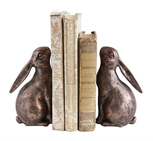 First of a Kind S/2 7-1/2 Lx3-1/4 Wx6-1/2 H Resin Bunny Bookends, Holds a Long Row of Books