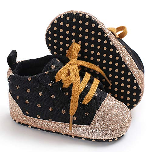 Tutoo Unisex Baby Boys Girls Star High Top Sneaker Soft Anti-Slip Sole Newborn Infant First Walkers Canvas Denim Shoes (12-18 Months M US Infant, D-Balck) (Infant Walking Shoes Best For Learning To Walk)