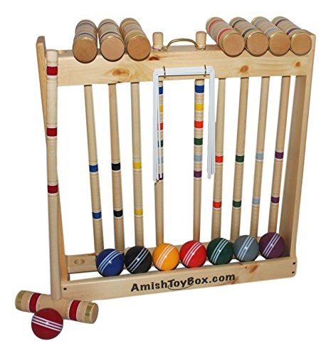 Amish-Crafted Deluxe Wooden Croquet Game Set, 8 Player (32 Handles)