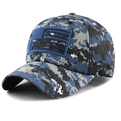 THE HAT DEPOT Low Profile Tactical Operator USA Flag Buckle Cotton Cap (Blue Digital Camo)