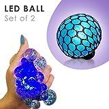 Set of 2 Led Anti Stress Ball - Squishy Light up Ball - Anti Stress Toys for Kids - Mesh Stress Ball - Grape Ball - DNA Ball - Prime Slime Stress Ball - ADHD Fidget Toys - Net Stress Squishy Ball