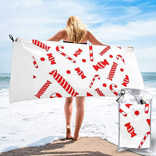 Sweet Sugar Candy Cane Quick Dry Beach Towel Wrap Microfiber Soft Bath Sheets Bath Towel for Men/Women White