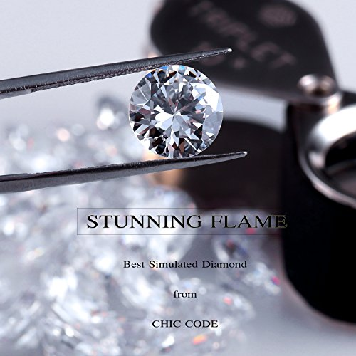 ''STUNNING FLAME'' 18K Gold Plated Silver Brilliant Cut Simulated Diamond CZ Stud Earrings (white-gold-plated-sterling-silver, 1.5) by Chic Code (Image #2)