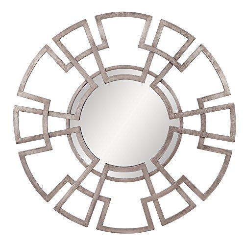 (Patton Wall Decor Champagne Foiled Lattice Round Mirror, Gold)