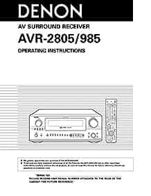 denon avr 985 avr 2805 receiver owners manual  plastic denon avr-2805 service manual denon avr 3805 manual